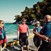Breifing before sea kayak expedition