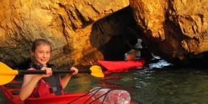 Children having fun in kayaks
