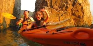 Family sunset kayaking fun
