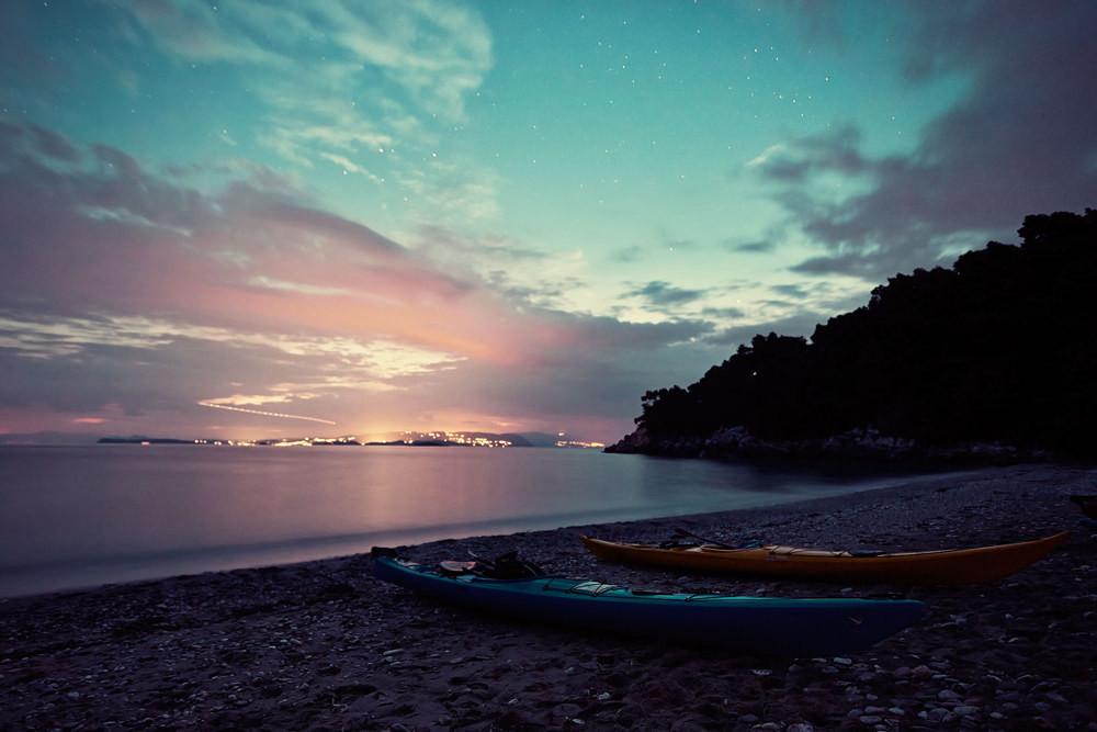 Night view from kayak camp