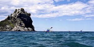 Kayaking past the Mamma Mia church