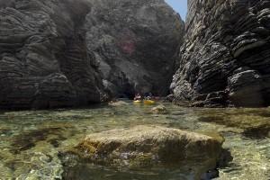 Kayaking through dramatic landscapes