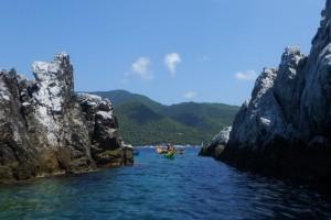 Kayaks exploring Skopelos