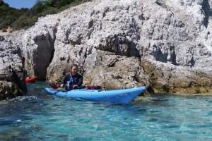 Kayaks in the rocks