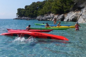 Kids having fun with kayaks